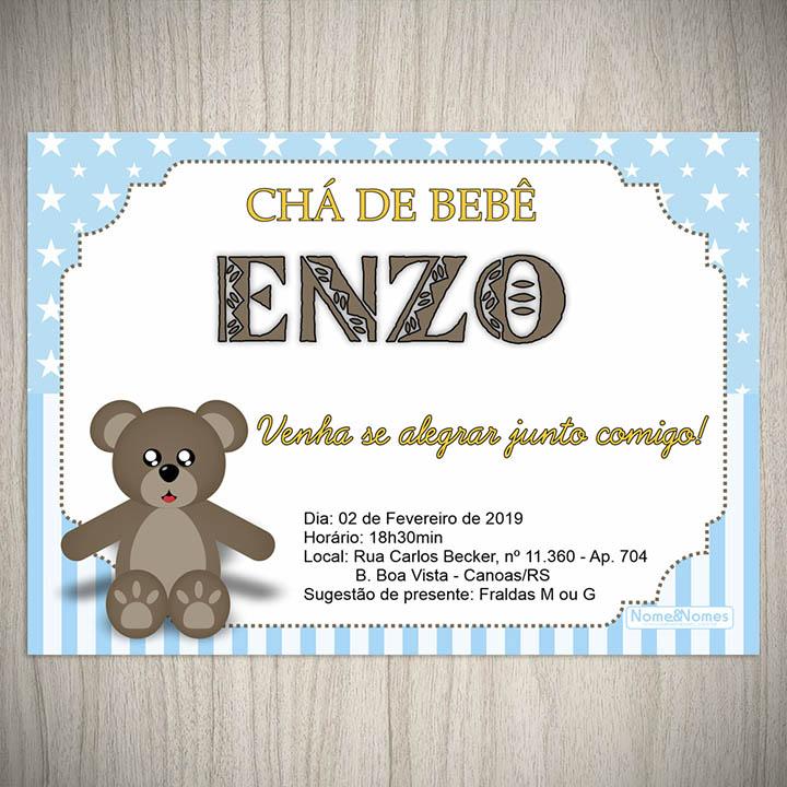 Convite Cha De Bebe Fraldas Ursinho Nome Nomes