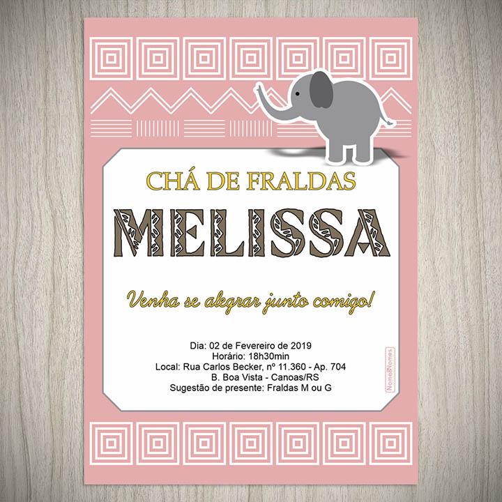Convite Cha De Bebe Fraldas Elefantinho Nome Nomes