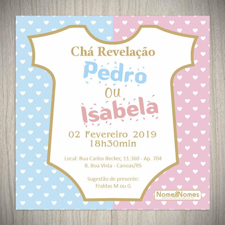 Convite Cha Revelacao Body Nome Nomes